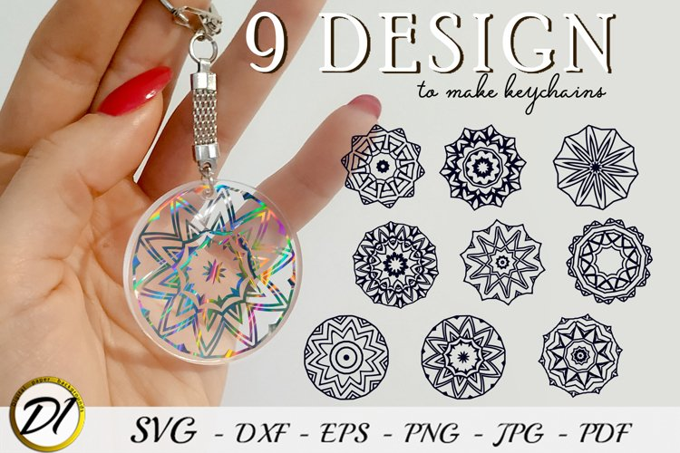 Keychain Mandala SVG. 9 Design to make keychains example image 1