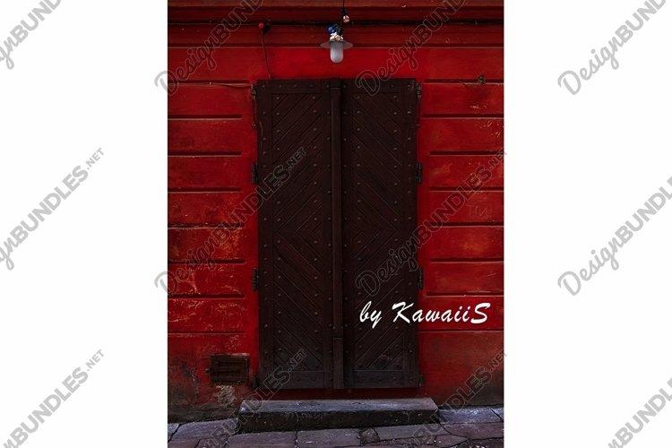Vintage brown wooden door Antique building exterior detail example image 1