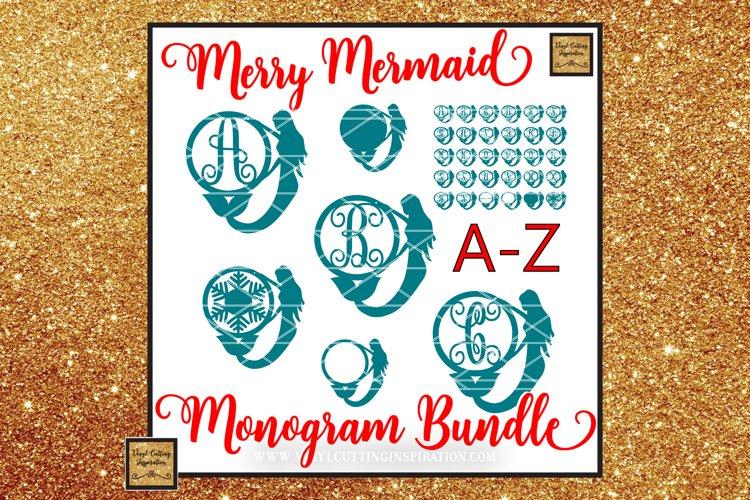 Mermaid Monogram Bundle, Christmas SVG, Monogram Svg files example image 1
