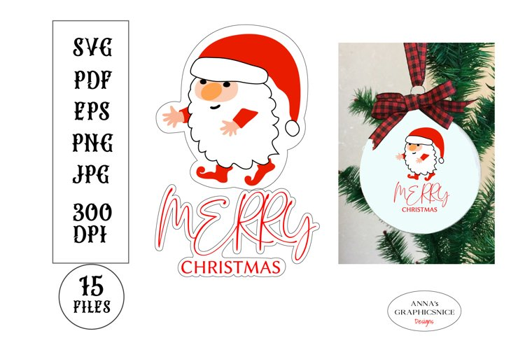 Christmas SVG Stickers with Santa Gnome and Merry Christmas
