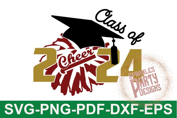 Class of 2024 Cheer Senior Sublimation SVG DXF PDF PNG example image 1