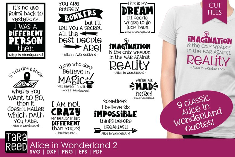 Alice in Wonderland Quotes 2 - SVG and Cut Files example image 1