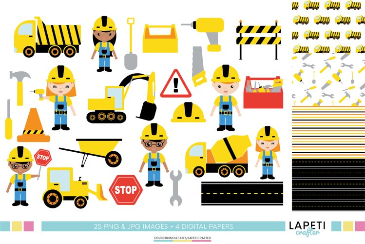 Construction clipart, construction kid party decorations