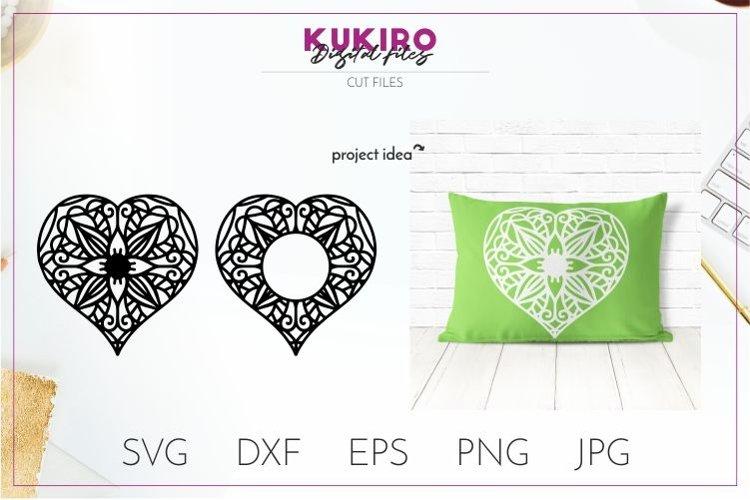 Mandala Heart Monogram SVG - Zentangle SVG cut file