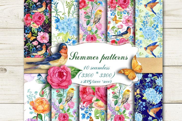 Summer Seamless Patterns Watercolor