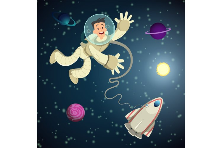 Astronaut in open space with shuttle and some planets. Vecto example image 1