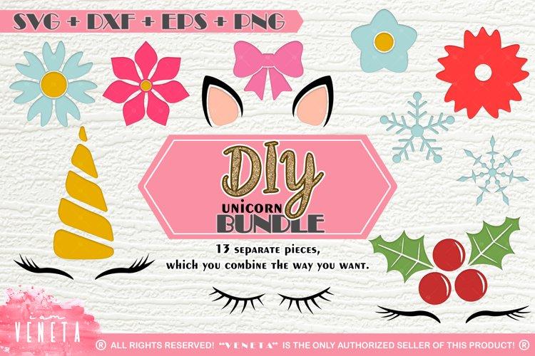 DIY Unicorn   BUNDLE - 13 separate Designs   SVG DXF EPS PNG example image 1