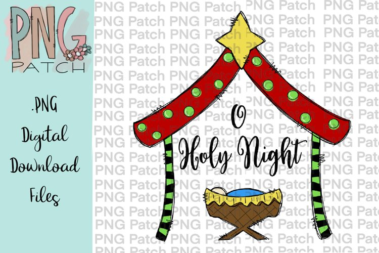 O Holy Night, Cute Colorful Manger, Christmas PNG File example image 1