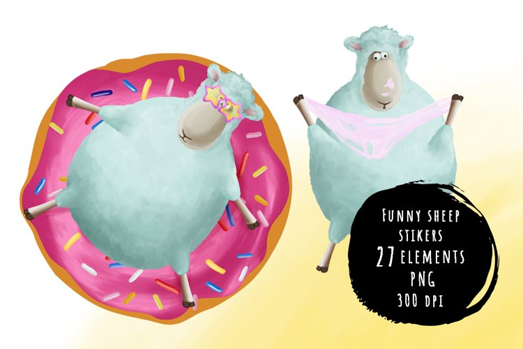 Cute and funny sheep sticker bundle example image 1