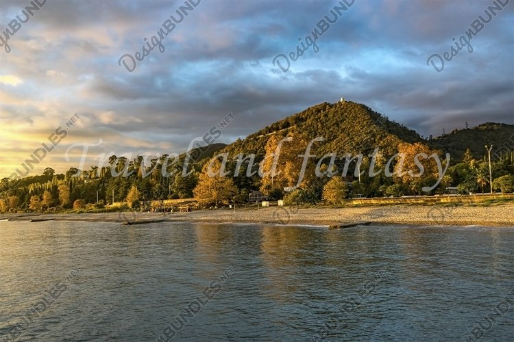 urban landscape of New Athos in Abkhazia at sunset