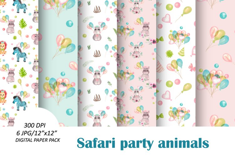 Baby animals birthday seamless pattern. African friends set example image 1
