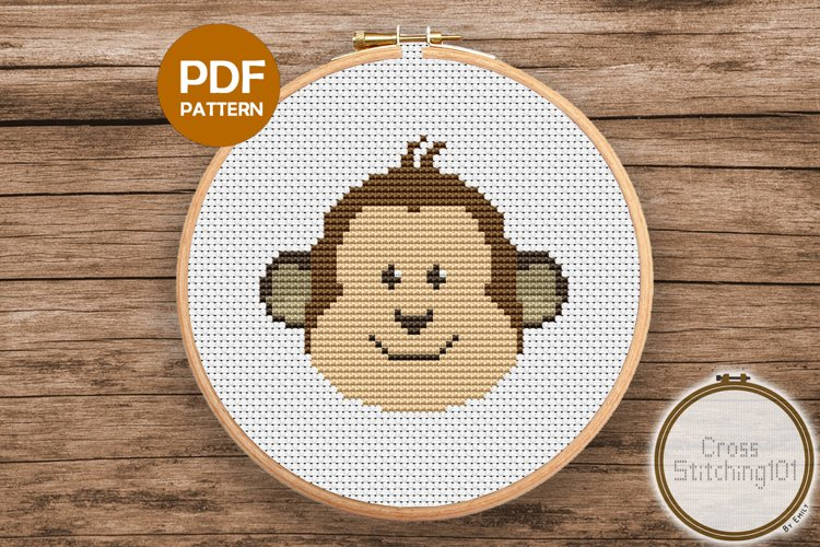 Cartoon Monkey Face Cross Stitch Pattern - Instant Download example image 1