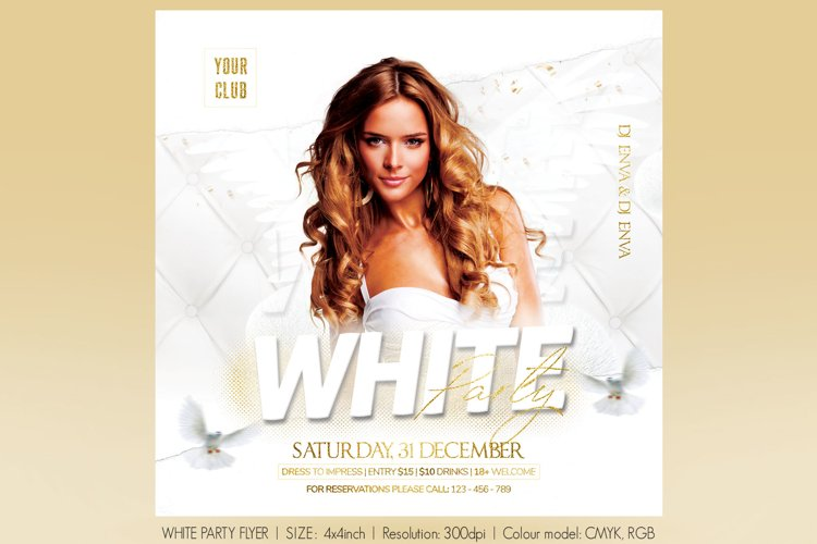 White Party Flyer example image 1