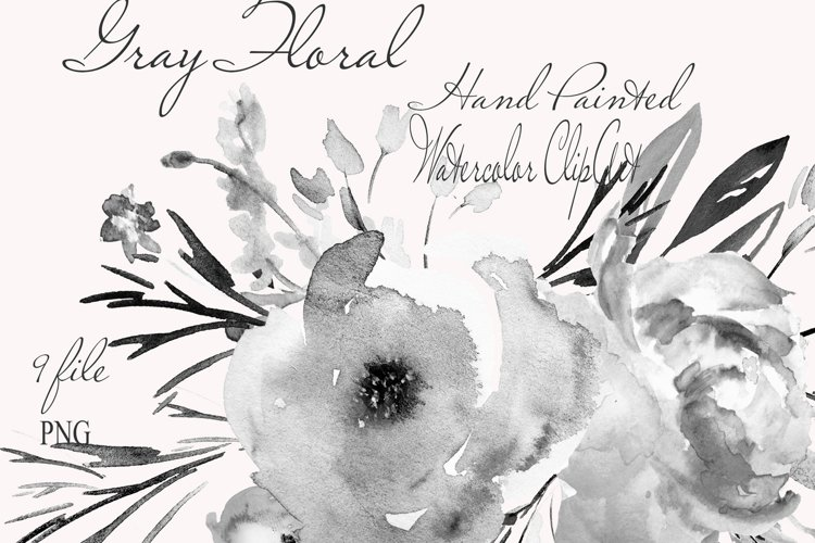 Gray Floral Clipart For Wedding Stationery example image 1
