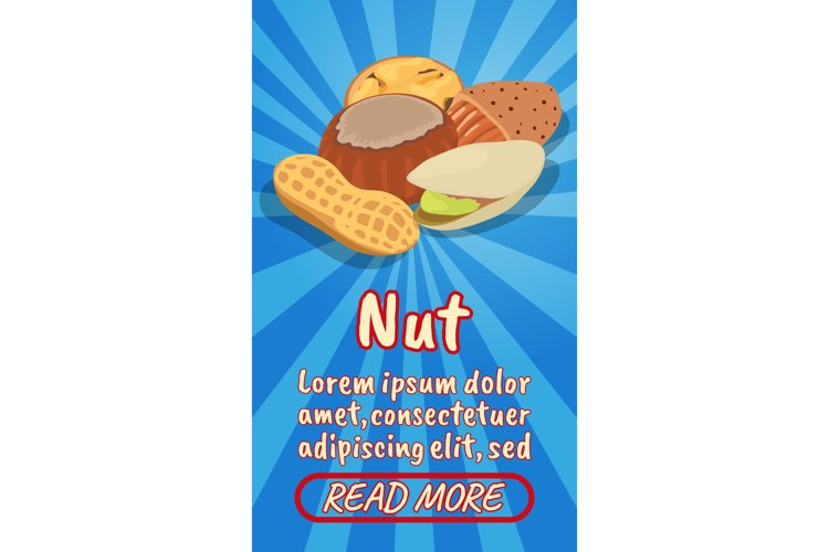 Nut concept banner, comics isometric style example image 1