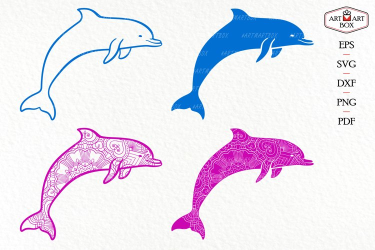 Set of four dolphins.