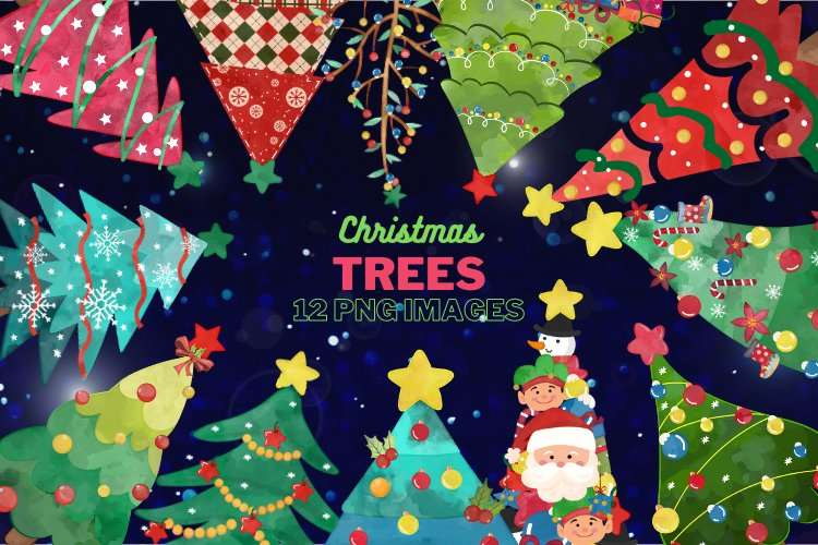 Watercolor Christmas tree clipart example image 1