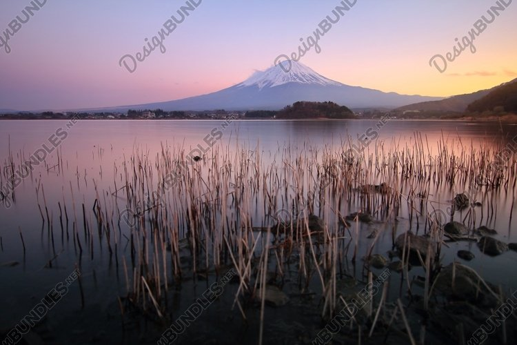 Mountain Fuji with colorful sky example image 1