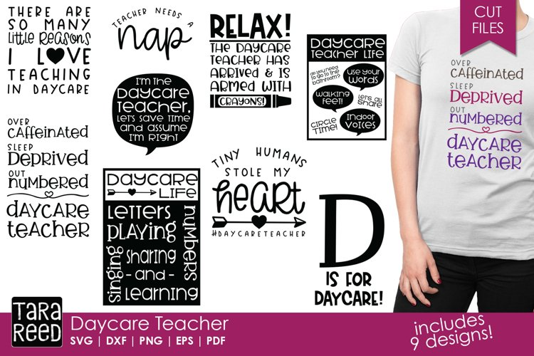 Daycare Teacher - Daycare SVG and Cut Files for Crafters example image 1