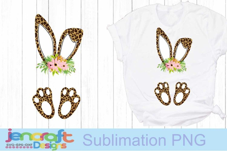 Easter Cheetah print bunny ears and feet with flower PNG