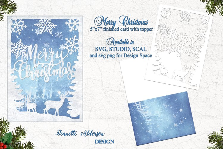 "5""x7"" Merry Christmas card with Reindeer & Snowflake topper example image 1"