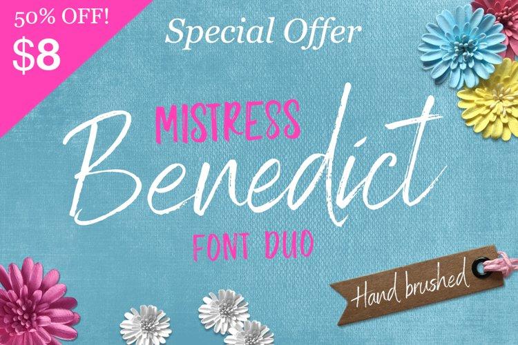 Mistress Benedict Brush font duo Hand lettered Script Fonts