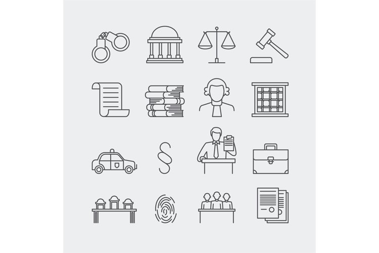 Law and justice thin line vector icons example image 1