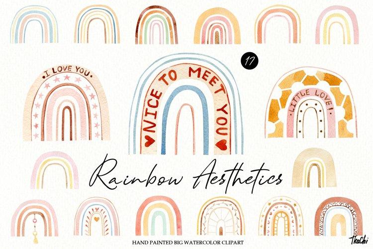 Watercolor boho rainbow clipart example image 1