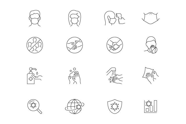 Coronavirus safety line icons