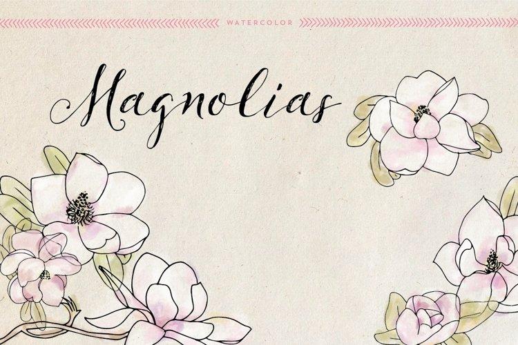Watercolor Magnolias example image 1