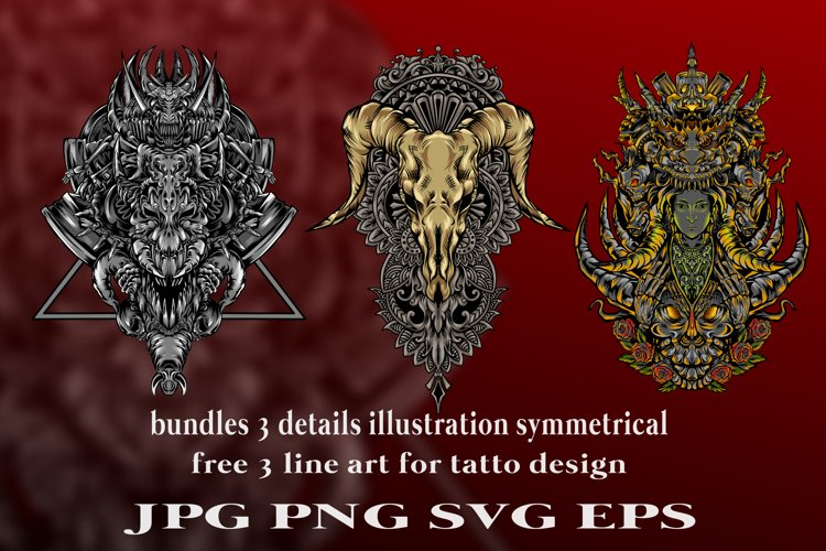 bundles amazing illustration and tatto design symmetrical