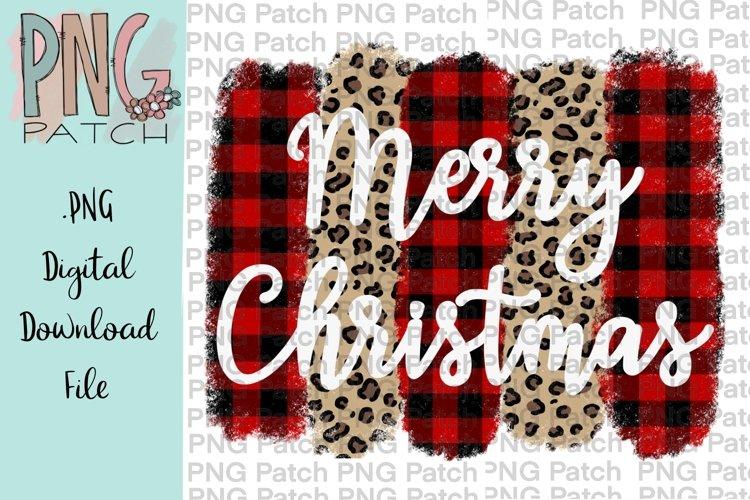 Buffalo Plaid and Leopard Print Christmas Sublimation Design example image 1
