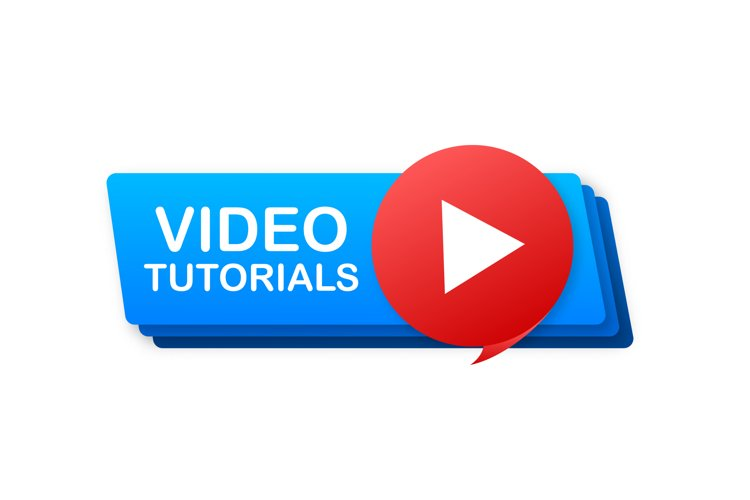 Video tutorials icon concept. Study and learning background,