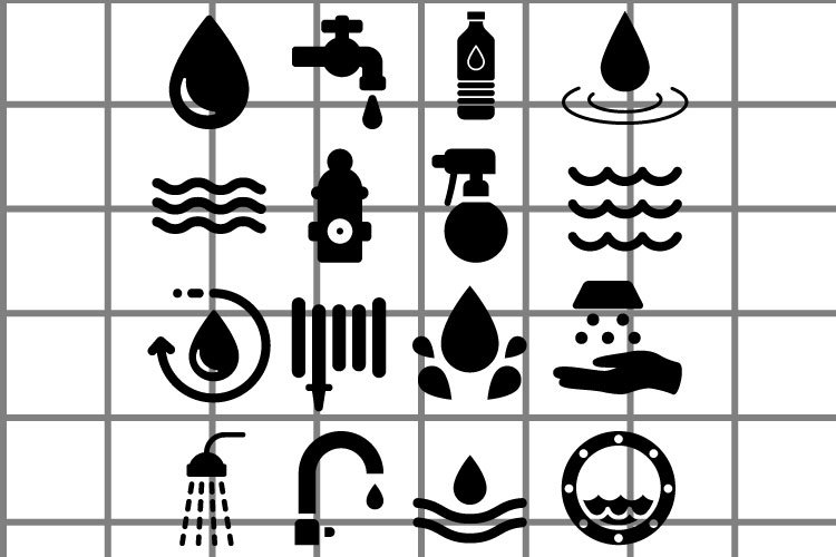 Water or waves icons black vector set. example image 1