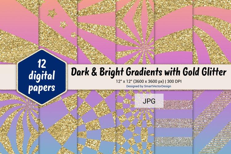 Sunburst & Hatch Stripes - Gradients with Gold Glitter #15