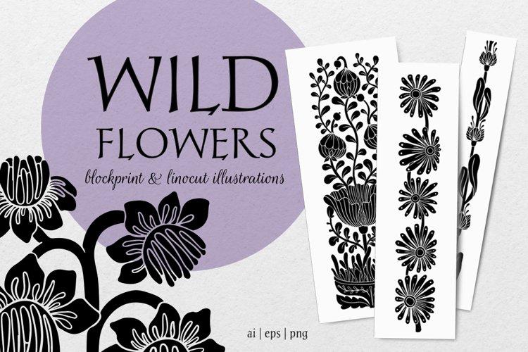 Wild flowers - botanical linocut set