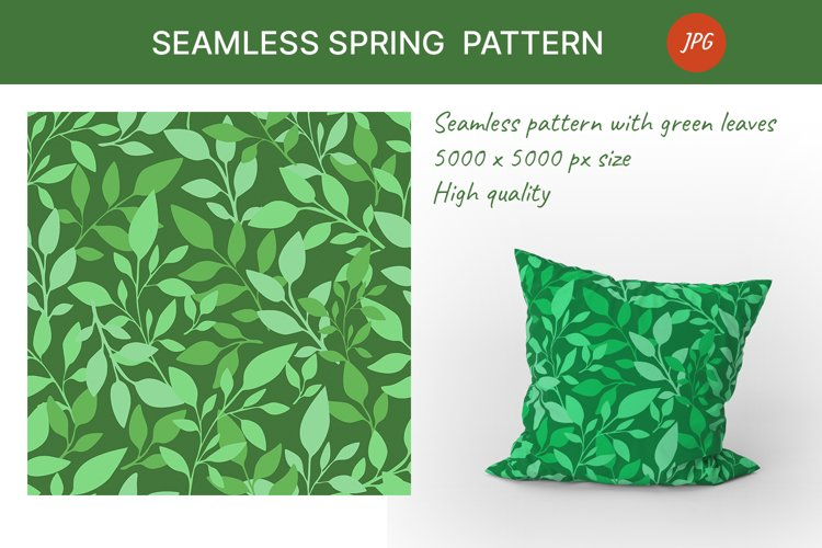 Seamless pattern with green leaves. Spring season example image 1