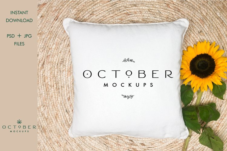 Pillow Cover Mockup in JPG and PSD | White pillow mock up example image 1
