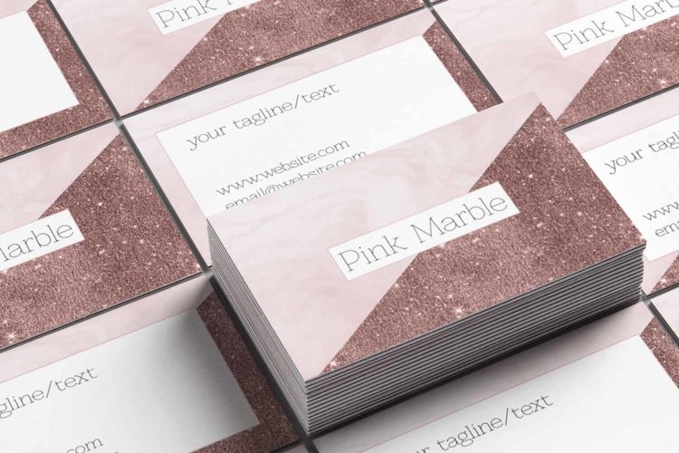 Pink Marble and Glitter Business Card Template example 2