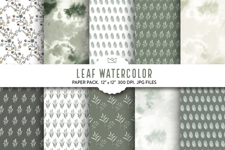 Leaf watercolor digital paper, green wrapping paper, leaf