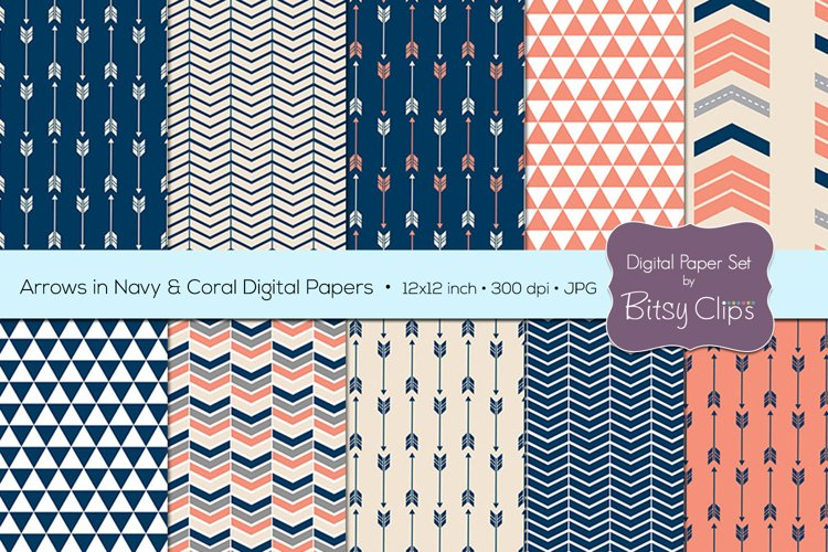 Arrows in Navy and Coral Digital Paper Set Scrapbook Paper Arrow Scrapbook Paper example image 1