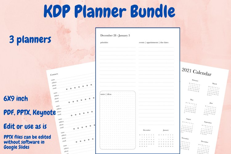 KDP Planner Bundle 3 planners in PDF, PPTX, and keynote example image 1
