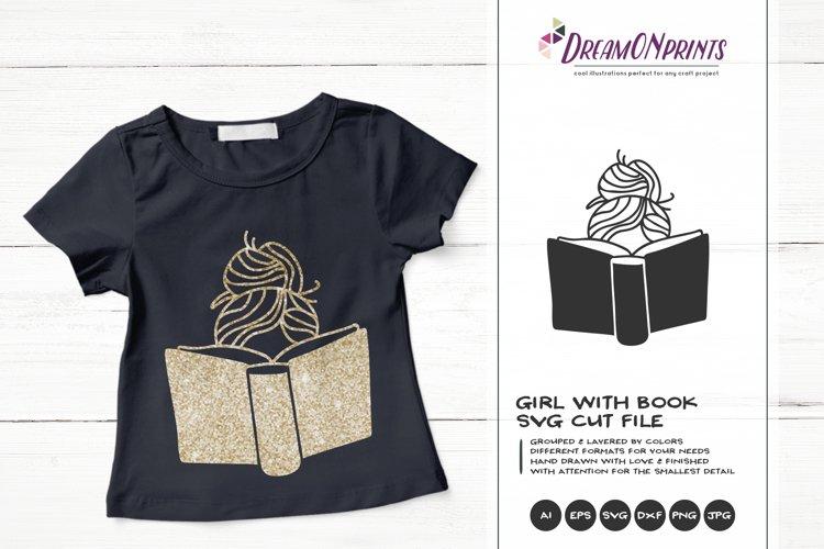 Girl Reading Book SVG | Book Lover SVG Design example image 1