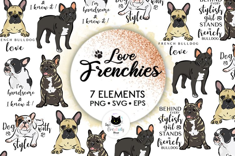 Frenchie, Svg Bundle, French Bulldog Svg, Dog Svg, Cute Svg example image 1