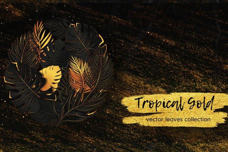 Black & Gold Tropical Leaves