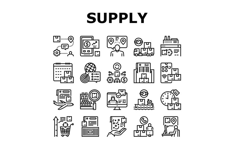 Supply Chain Management System Icons Set Vector example image 1