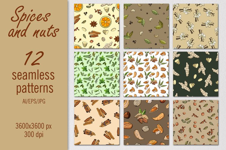 Spices and nuts - patterns