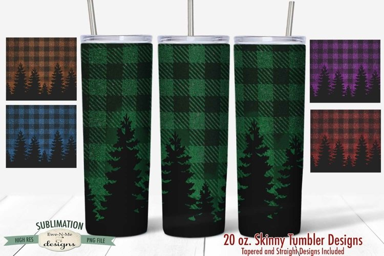 20 oz Tumbler Sublimation Bundle Plaid Trees Multiple Colors