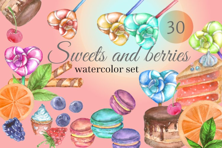 Sweets and Berries, Watercolor Set, PNG example image 1