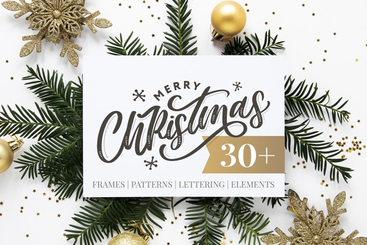 Christmas set | Frames | Patterns | Lettering | Elements example image 1